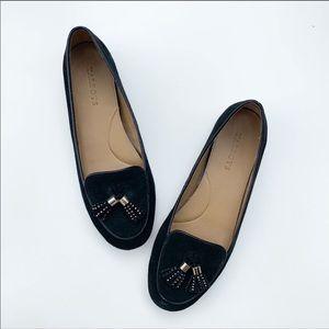 TALBOTS | Black Suede Tassel Loafers Size 7.5